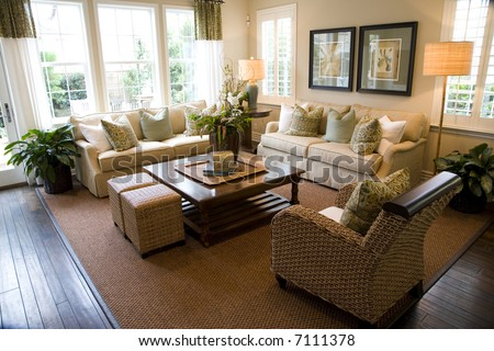 Living room with luxury decor. - stock photo