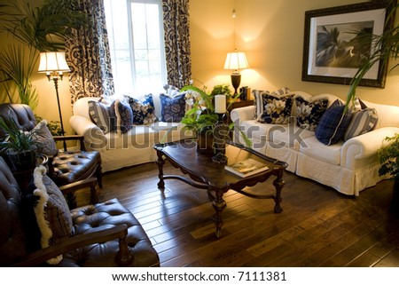 Living room with modern decor. - stock photo