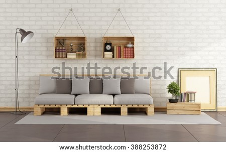 Living room with pallet sofa and wooden crate with books on brick wall - 3D Rendering - stock photo