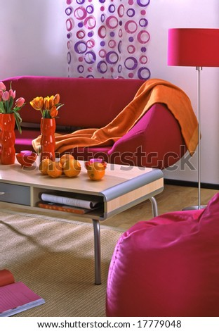 living room with pink sofa - stock photo