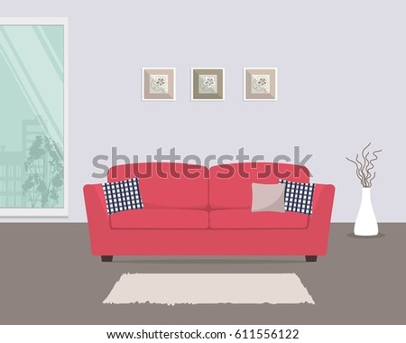 Living Room Red Sofa Pillows There Stock Illustration 611556122 ...