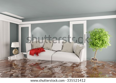Living room with sofa and other furniture after water damage (3D Rendering) - stock photo