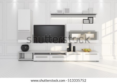 living room with TV, furniture and shelf 3D illustration
