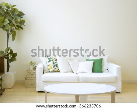 living room with white sofa - stock photo