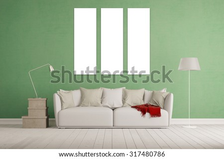 Living room with white three piece triptychon canvas on a wall (3D Rendering) - stock photo