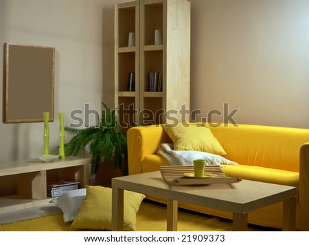 living room with yellow sofa - stock photo