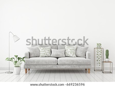 Livingroom Interior Wall Mock Up With Gray Fabric Sofa And Pillows On White Background