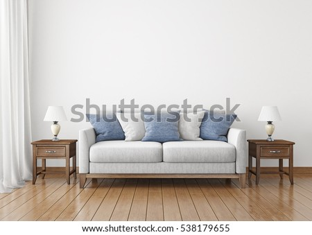 Livingroom With Fabric Sofa Pillows And Lamps On Empty Wall Background 3D Rendering
