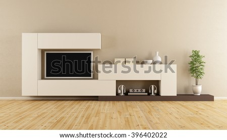 Livingroom with wall unit and television set - 3D Rendering - stock photo