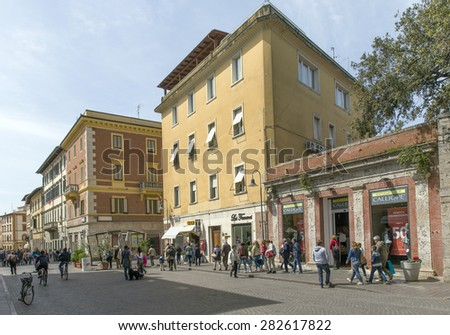 LIVORNO,ITALY - MAY 1, 2015 - Tourist on the pedestrian street of Grosseto . It is the most populous city in Maremma, with 82,284 inhabitants.