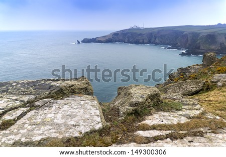 Lizard Point and lighthouse the most Southerly point in Britain - stock photo