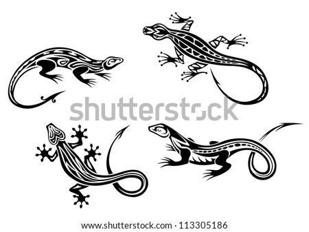 Lizard reptiles set in tribal style for tattoo or mascot design. Vector version also available in gallery - stock photo