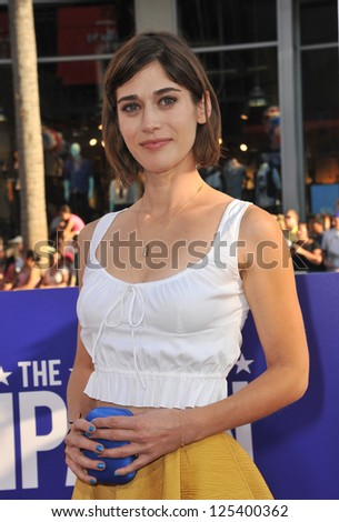 Lizzy Caplan at the Los Angeles premiere of The Campaign at Grauman's Chinese Theatre, Hollywood. August 3, 2012  Los Angeles, CA Picture: Paul Smith - stock photo