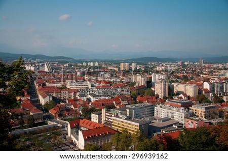 Ljubljana city slovenia old center panorama view - stock photo