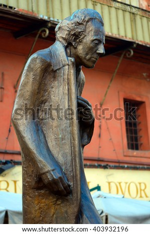 LJUBLJANA - DECEMBER 19 : Gustav Mahler Statue in the old city at 19 December, 2015 in Ljubljana, Slovenia. Mahler was a world famous Austrian composer. - stock photo