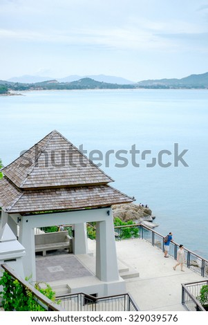 LKoh Samui, Thailand - JUNE 26: Lat Ko viewpoint in Koh Samui island, Thailand on June 26 2015. It is popular touristic destination famous for beautiful island views. - stock photo