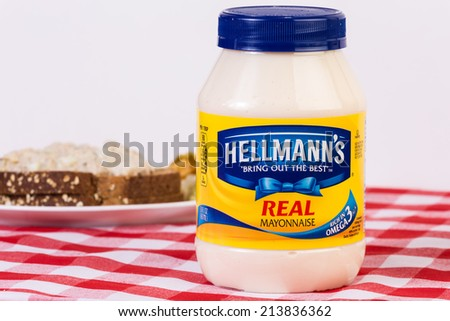 LLANO, TEXAS - AUGUST 26, 2014: Mayonnaise is the start of a sandwich.   Hellmann's Mayonnaise has been sold publicly since 1905 and mass marketed since 1912. - stock photo