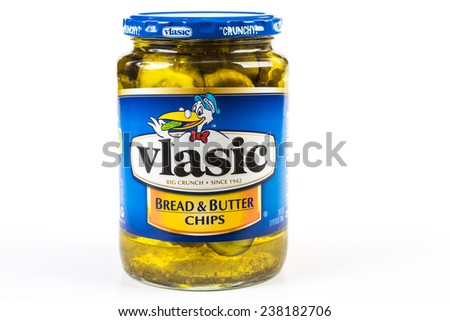 LLANO, TEXAS-DEC 15, 2014:  Vlasic Bread and Butter Chips is a country cooking favorite for snacks and sandwiches.  Horizontal format with copy space. - stock photo