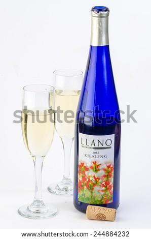 LLANO, TEXAS-Jan 17, 2015:  Llano Estacado Riesling is a fine example of Texas wines, an especially fruity Riesling. - stock photo
