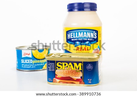 LLANO TX - MAR 9, 2016: Focus on Small can of Spam with Libby's Pineapple slices and Hellmann's Mayonnaise on white background.