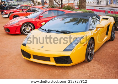 LLORET DE MAR, SPAIN - APRIL 1: A Lamborghini Gallardo showing at the 7th Rally Costa Brava Historic on April 1, 2011 in Lloret de Mar, Spain - stock photo