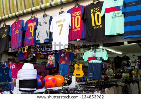 LLORET DE MAR, SPAIN - APRIL 30  View of a shop in Lloret de Mar, a famous touristic destination in Mediterranean coast, on April 30, 2012, in Lloret, Spain. - stock photo