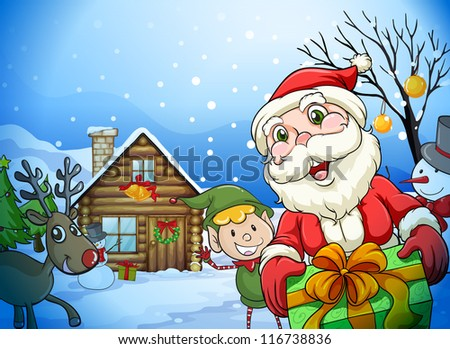 llustration of a house, a santa claus and a reindeer in a beautiful nature - stock photo