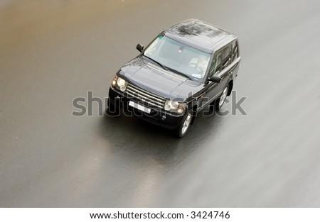 "Lluxury and power: black british suv car Range Rover Vogue speed fast of my ""luxury cars"" series - stock photo"