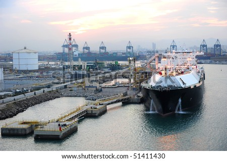 LNG terminal in Barcelona - stock photo