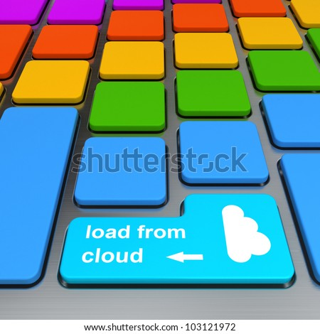 load from cloud button on computer keyboard - stock photo
