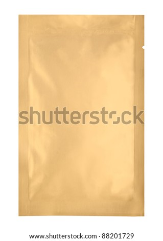 loaded bronze aluminum foil bag package with fine cut and work path - stock photo