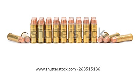 Loaded cartridges. 44 Magnum on white background. - stock photo