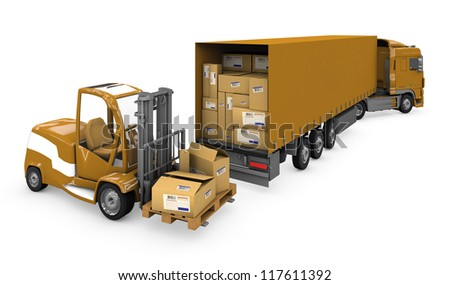 Loader and a truck carrying a parcel on a white background with clipping path. - stock photo