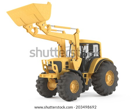Loader excavator isolated.