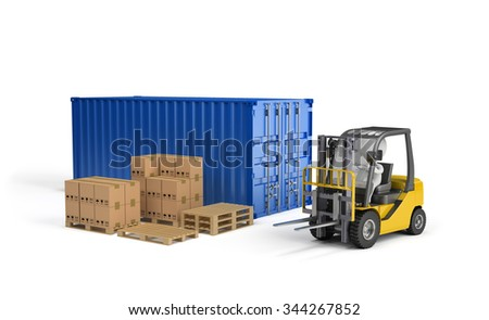 Loader, the boxes on a wooden pallet, the transport container. 3d image. White background. - stock photo