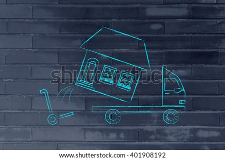 loading an entire house on moving company truck, funny metaphor - stock photo