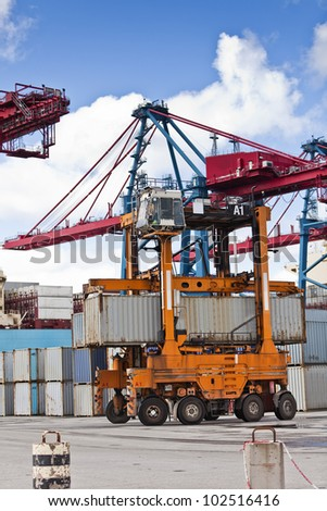 Loading at the commercial dock - stock photo