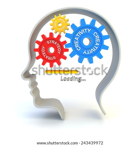 Loading creativity, idea and strategy, 3d render, white background - stock photo