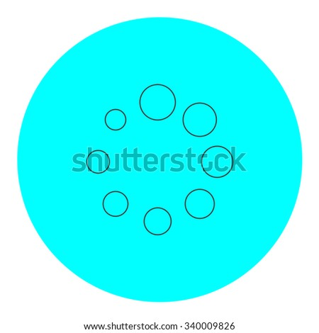 Loading, Streaming, Buffering, Play, Go. please wait. Black outline flat symbol on blue circle. Simple illustration pictograh on white background