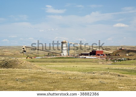 loadout silos in the Powder River Basin coal mines in Wyoming - stock photo