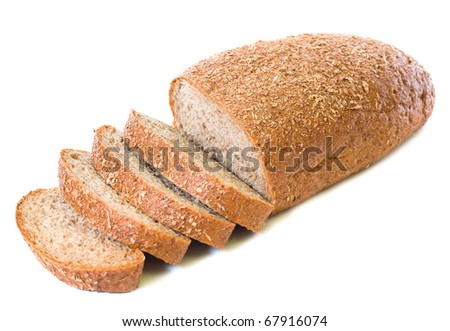loaf and slices of whole rye bread isolated on white background - stock photo