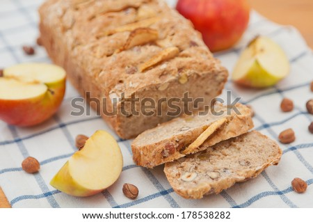 Loaf of apple nut bread - stock photo