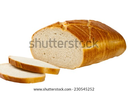 Loaf of bread. Isolated on white. Selective focus. - stock photo