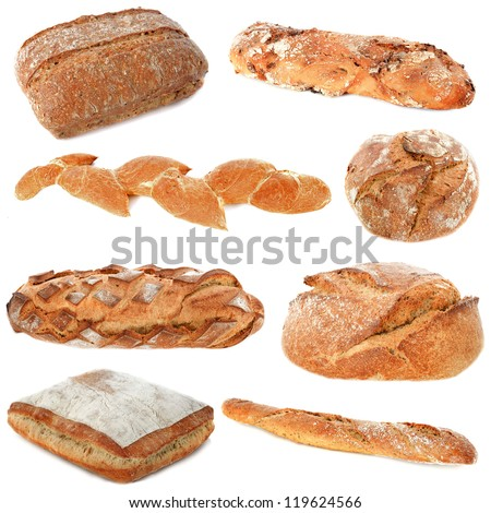 loaf of breads in front of white background