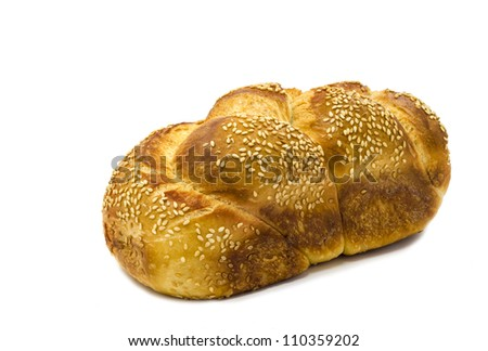Loaf of challah bread isolated on white background