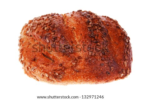 loaf of french rye bread topped with sunflower seeds isolated over white background - stock photo