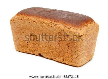 Loaf of fresh appetizing bread on white background - stock photo