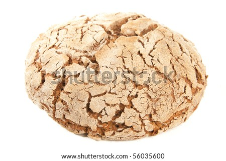 loaf of hot whole rye homemade bread just out of oven and isolated on white background - stock photo