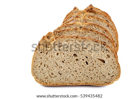 Loaf of sliced bread isolated on white background.