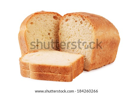 Loaf of white bread isolated on white - stock photo